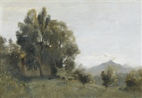 paysage campagne genevoise by jules louis badel