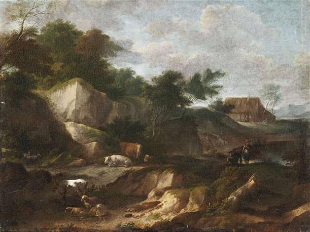 bewaldete felslandschaft mit hirten und herde im hintergrund ein bauerngehöft by cornelis huysmans