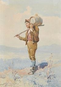 trachtenfrau in landschaft (+ bauer mit holzfass; pair) by luigi de angelis