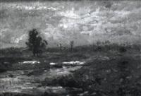 bachlandschaft mit weiher und gehöft by rudolf hoeckner