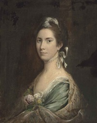 portrait of a lady, thought to be lady elizabeth levesson gower, countess waldegrave (1724-1784), half-length, in a pale blue dress and pearl choker by nathaniel hone the elder