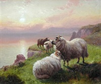 evening in the highlands with sheep (pair) by henry h. hall