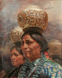 zuni pot carrier by jim abeita