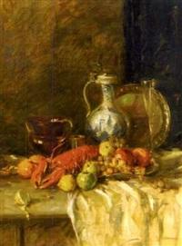 stillleben mit hummer und früchten by j. lindner