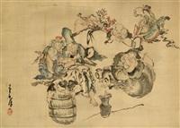 die sieben glücksgötter bei verschiedenen tätigkeiten by japanese school (19)