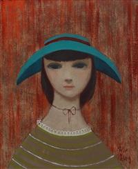 kvinna i grön hatt by pelle aberg