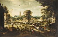 scena di vita di villaggio by flemish school (17)