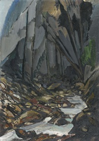 bergbach in felsiger schlucht by karl aegerter