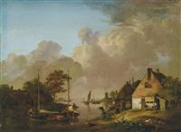holländische landschaft mit bauernhäusern am wasser by jan van os