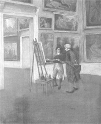 an 18th century artist painting a copy in a picture gallery by theodor rikoff