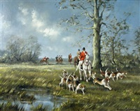a huntsman on a grey hunter in woodland, with hounds drawing a covert by gudrun sibbons