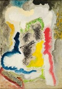 komposition in organischen formen mit dreiklang gelb-rot-blau by carl buchheister