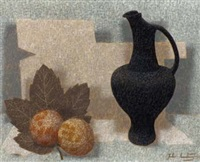 still life with black jug and fruit by john armstrong