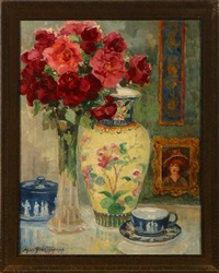red roses, chinese vase and wedgwood cup and saucer by alice blair thomas