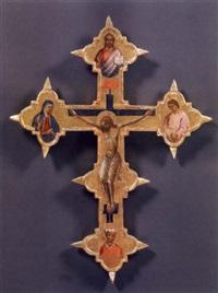 crocifisso con la vergine e san giovanni dolenti, san cosma o damiano, redentore benedicente by master of san jacopo a mucciana