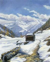 schneeschmelze bei eisten im lötschental by karl anneler