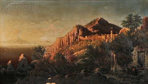 near sun set a view of capri by george loring brown