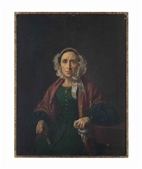 portrait of a lady, three-quarter-length, seated, in a green dress... and a portrait of a man, three-quarter-length, seated at his writing desk (pair) by vicente rodés y aries