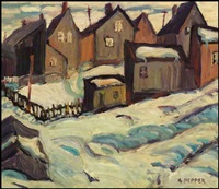 neighborhood in winter by george douglas pepper