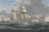 the schooner vision in three positions off tynemouth by william john huggins