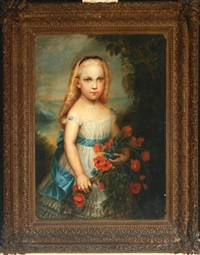 portrait of a girl with a bouquet of flowers by l. legy