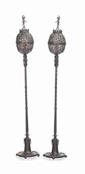 patinated bronze floor lamps (pair) by oscar bruno bach