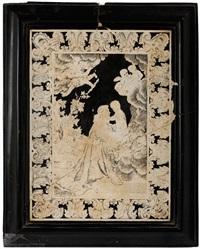 scagliola-platte mit darstellung des heiligen franziskus in anbetung des jesuskindes, das ihm auf wolken erscheint by marco barzelli