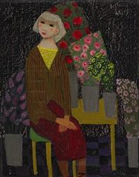sittande flicka omgiven av blommor by pelle aberg