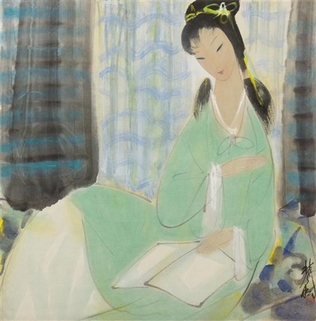 a lady reading a book by lin fengmian