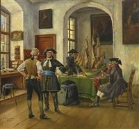 kaufleute in einem kontor vor segelschiffmodel by theodor lindner