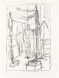 personnage dans l'atelier by alberto giacometti