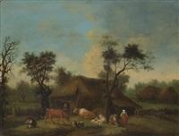 paesaggio con case, pastori e armenti by dutch school (18)