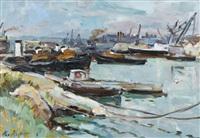 französische hafenpartie mit booten by max agostini