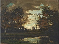 autumnal landscape with canal by tinus de jongh