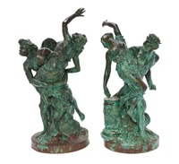 a pair of grand tour verdigris bronze figural groups each depicting the abduction of a maiden, one group rising from clouds, the other before a pedestal by anonymous (19)
