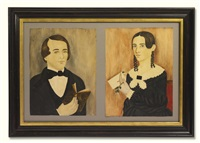 young man holding a bible and young woman holding a letter and rose (2 works) by mary b. tucker