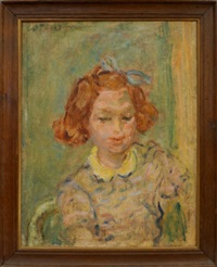 portrait of a girl with a blue bow in her hair by henryk gotlib