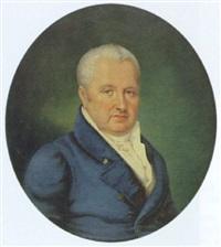 porträt eines herrens im weißem hemd und blauer jacke by josef heigel