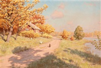 autumn landscape with hens by johan fredrik krouthen