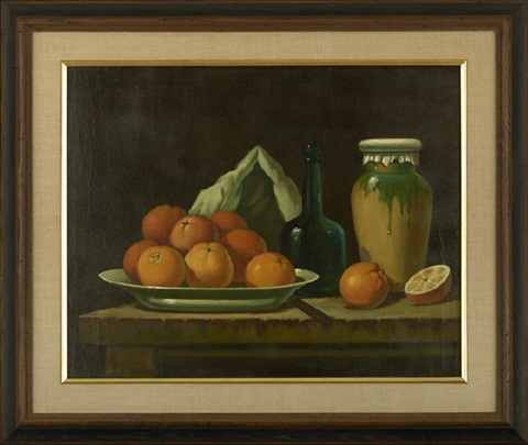 still life with a glazed covered jar and a platter of oranges by ira monte