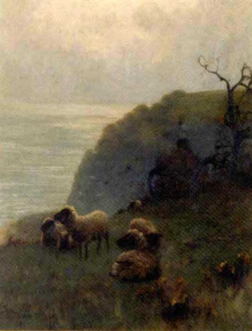 sheep beside a cliff overlooking the sea by sidney pike
