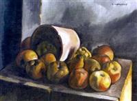 kartoffel- und äpfelstillleben by charles auguste humbert