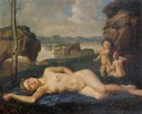 liegender weiblicher akt mit putti by theodor baierl