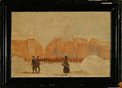 street scene from an european city at winter time by john ruskin