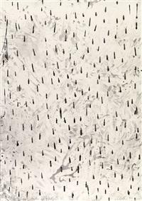 regen trommelnd streichelnd zärtlich weinend trommelnd (6 works) by günther uecker