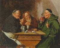 oldrikkende munke omkring et bord by oluf simony jensen