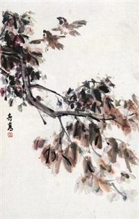 枫叶栖鸟 by xu qigao