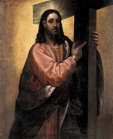 cristo con croce by jacopo palma il giovane