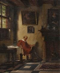 interieur mit pfeife rauchendem gelehrten by hugo krings