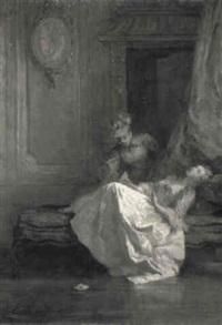 zwei mädchen im salon einen brief lesend by louise-emilie leleux-girard